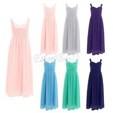 Girl Kid Dress Flower Wedding Pageant Long Maxi Gown Lace Chiffon Prom For 4-16Y