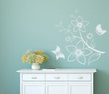 Tree Branch Blossom Wall Decal Flower Decal Floral Butterfly Vinyl Sticker L126