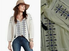NWT LUCKY BRAND Sizes S/XL Embroidered Linen Blend Peasant tunic top/Blouse