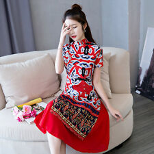 High Quality Vintage Chinese Cheongsam Women Dress Real Red Lucky Cloud