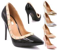 WOMENS LADIES POINTED HIGH HEEL STUDDED SMART WORK PARTY COURT SHOES PUMPS SIZE