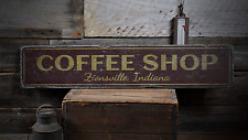 Coffee Shop Location City State Name - Rustic Distressed Wood Sign ENS1001773