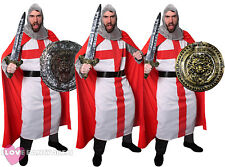 MENS KNIGHT COSTUME WITH SWORD OR SHIELD ADULT ST GEORGE FANCY DRESS MEDIEVAL
