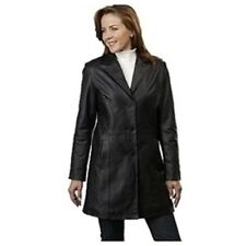 NEW Excelled Button Front Lined Black Leather Coat Sizes Sz. Med. or Lg. $245.95