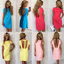 Women Ladies Short Sleeve Backless Shirt Dress Cocktail Party Pencil Mini Dress
