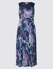 Per Una Marks and Spencer Purple Floral Lace Detail Maxi Dress RRP £55 (BR3)