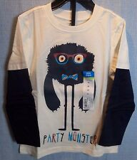 NWT Okie Dokie Boy Toddler Long Sleeve Shirt Party Monster White 3T 4T