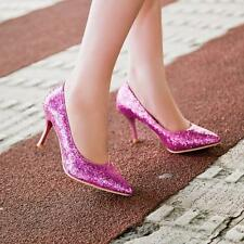 Glitter Sequin Womens Pointed Toe High Heels Stiletto Wedding Party Court Shoes