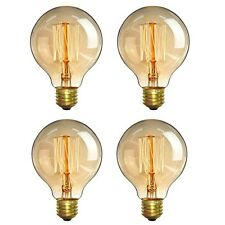4 Pack of Vintage Edison G80 E26 Bulbs 40W Warm White Antique Style Light Bulbs