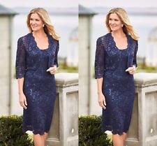 2 Pieces Mother Of The Bride Dress Knee-Length Lace 3/4Sleeve Formal Gown Sequin