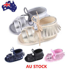 AU Kids Baby Girls Tassel Sandals Moccasin Sole Non-slip Summer Prewalker Shoes