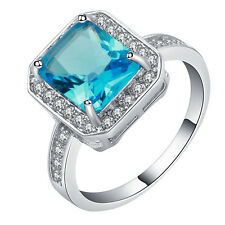 pretty 18kt white Gold filled blue gemstone CZ Wedding Engagement Ring Size 7-10
