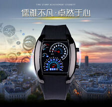 US Men's Chic RPM Turbo LED Flash Sports Car Meter Dial Sports Wrist Watch Blue
