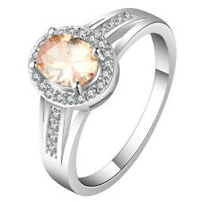 champagne luxury topaz CZ Wedding Engagement 18kt white Gold filled  Ring 4 size