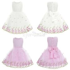 Flower Girl Princess Dress Kid Baby Party Wedding Pageant Formal Lace Dresses