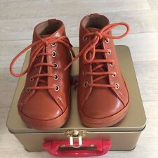 NIB Pom Dapi Baby Girl Booties 22EU Brown Orange Laces Shoes Kelly Newflex Basic