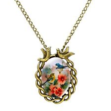 Lovely Antique Bronze Oval Bird and Flower Pendant  Womens Statement Necklace