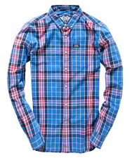 New Mens Superdry Washbasket Button Down Shirt Blue Water Check