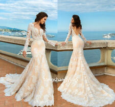 2017 Mermaid Wedding Dresses V Neck Lace Bridal Gowns Custom Backless Elegant