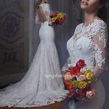 Mermaid Lace Wedding Dress Train White Ivory Summer Bridal Gowns Custom New 2017
