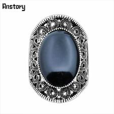 Hollow Flower Oval Stone Rings Vintage Look Antique Silver Plated Fashion Jewelr