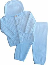 Baby Boys 3 Piece Knitted Sky Blue Set Romany Spanish Style Outfit by Zip Zap