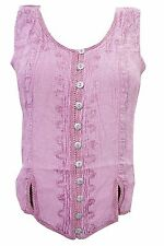 BOHO GYPSY HIPPIE BLOUSE TOP PINK EMBROIDERED STONEWASHED SLEEVELESS TANK TOP