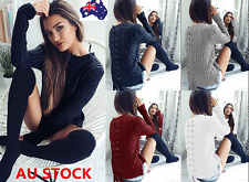 Women Long Sleeve Knitted Sweater Jumper Top Pullover Outwear Back Lace Up Shirt