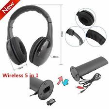 LOT 5 in 1 Hi-Fi Wireless Headset Headphone Earphone for TV DVD MP3 PC Black SD