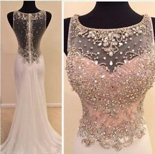 Crystals Evening Dresses Chiffon Formal Cocktail  Prom Gowns Custom Mermaid 2017