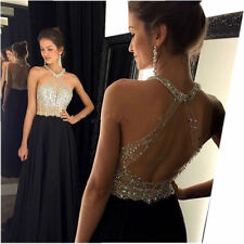 Halter Crystal Prom Dress Evening cocktail Party Bridesmaids gown Custom Chiffon