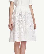 NWT Ann Taylor Lined Cotton Diamond Eyelet Full Skirt 12 & 12P $129.00 White NEW