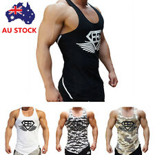 Mens Sport Vest Superman Tank Top Bodybuilding Gym Fitness Muscle Sleeveless Tee