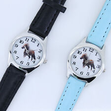 Fashion Children Leather Horse Boy Girl Quartz Animal Cartoon Wristwatch U11