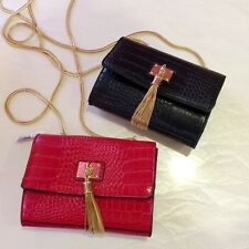 Crocodile print  Women PU Leather Shoulder Bag Chain Mini Handbag Purse Bags