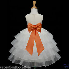 IVORY TIERED ORGANZA FLOWER GIRL DRESS PAGEANT WEDDING BRIDESMAID 18m 2 4 6 8 10