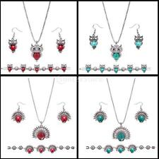 MagiDeal Owl Turquoise Stone Peacock Necklace Earrings Bracelet Jewelry Sets