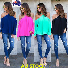 Women Off Shoulder Halter Tops Ladies Long Sleeve Chiffon Blouse Tee T-Shirt