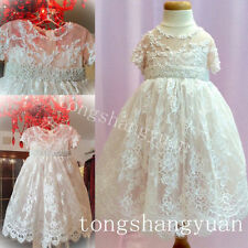 Lace Beading Infant Baptism Outfits Girl Ivory White Christening Dresses Custom