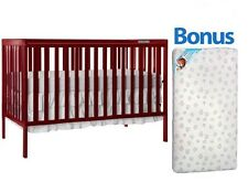 Convertible Baby Crib 5-in-1 With Bonus Mattress Synergy Toddler Nursery Bed New