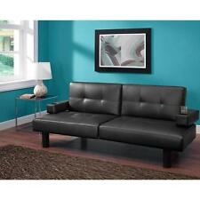 Futon Sofa Bed Bonded Leather black brown couch sleeper convertible cup holders