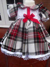 DREAM GIRLS ROMANY RED BLACK WHITE TARTAN SPANISH DRESS 0- 5 YEARS