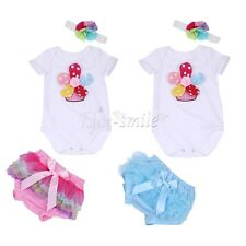 3PCS Newborn Toddler Infant Baby Girl Floral Romper Bodysuit Jumpsuit 3D Outfits