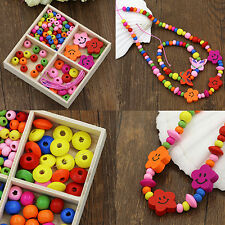 Multicolor Wooden Beads DIY Jewelry Necklaces Bracelets Making Handcraft Great