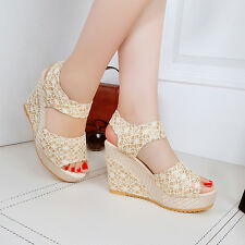 Womens Summer Party High Wedge Heel Platform Open Toe Sandals Ankle Strap Shoes