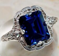 Huge 3.5CT Princess Cut Tanzanite Ring Men Women 925 Silver Vintage Size 6-10