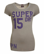 New Womens Superdry Factory Second Trainer T-Shirt Mid Grey Marl