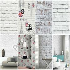 WHITE BRICK EFFECT WALLPAPER - 5 STYLES - FEATURE WALL - NEW