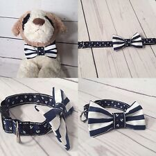 Nautical sailor theme Dog collar with removable bow tie navy and white, anchors