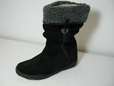 Girls SALE Startrite Marcella Black Suede Leather Pull On Long Boots